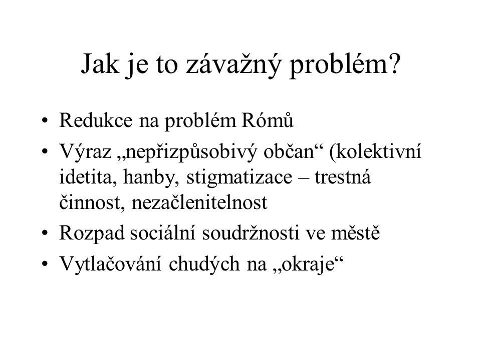"""Jak je to závažný problém? Redukce na problém Rómů Výraz """"nepřizpůsobivý občan"""" (kolektivní idetita, hanby, stigmatizace – trestná činnost, nezačlenit"""