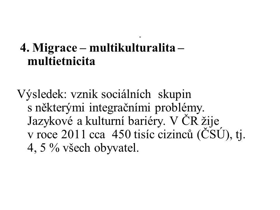 - 4. Migrace – multikulturalita – multietnicita Výsledek: vznik sociálních skupin s některými integračními problémy. Jazykové a kulturní bariéry. V ČR
