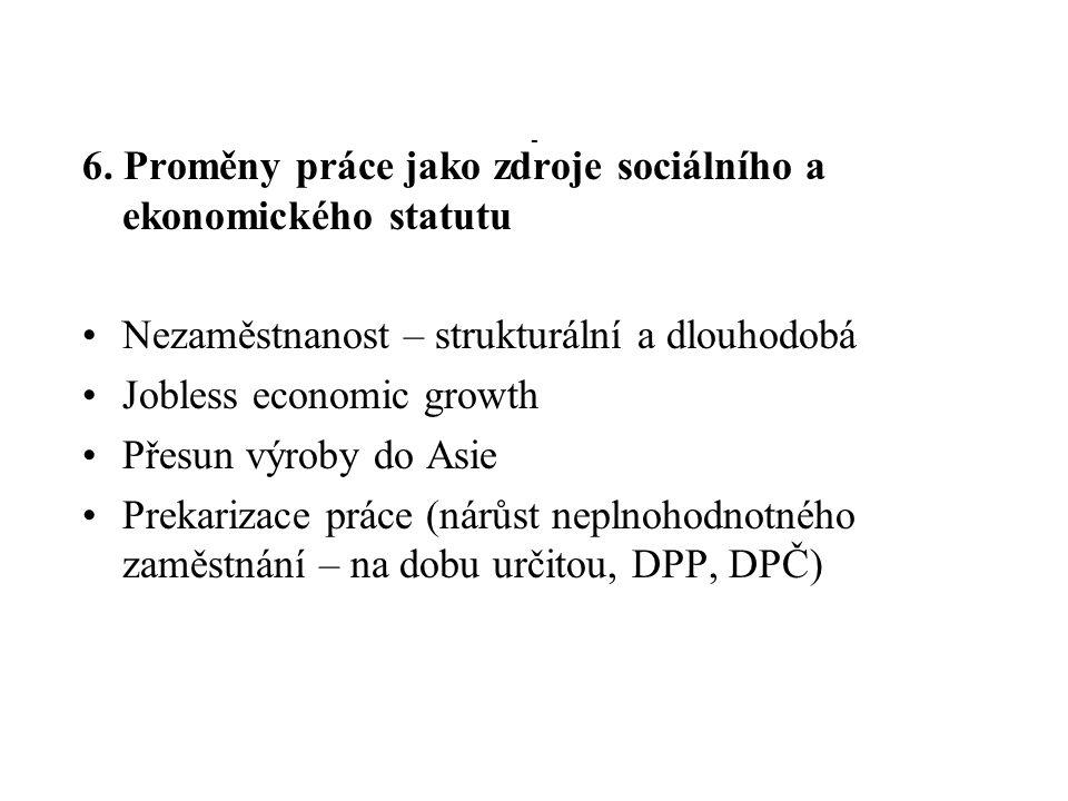 - 6. Proměny práce jako zdroje sociálního a ekonomického statutu Nezaměstnanost – strukturální a dlouhodobá Jobless economic growth Přesun výroby do A