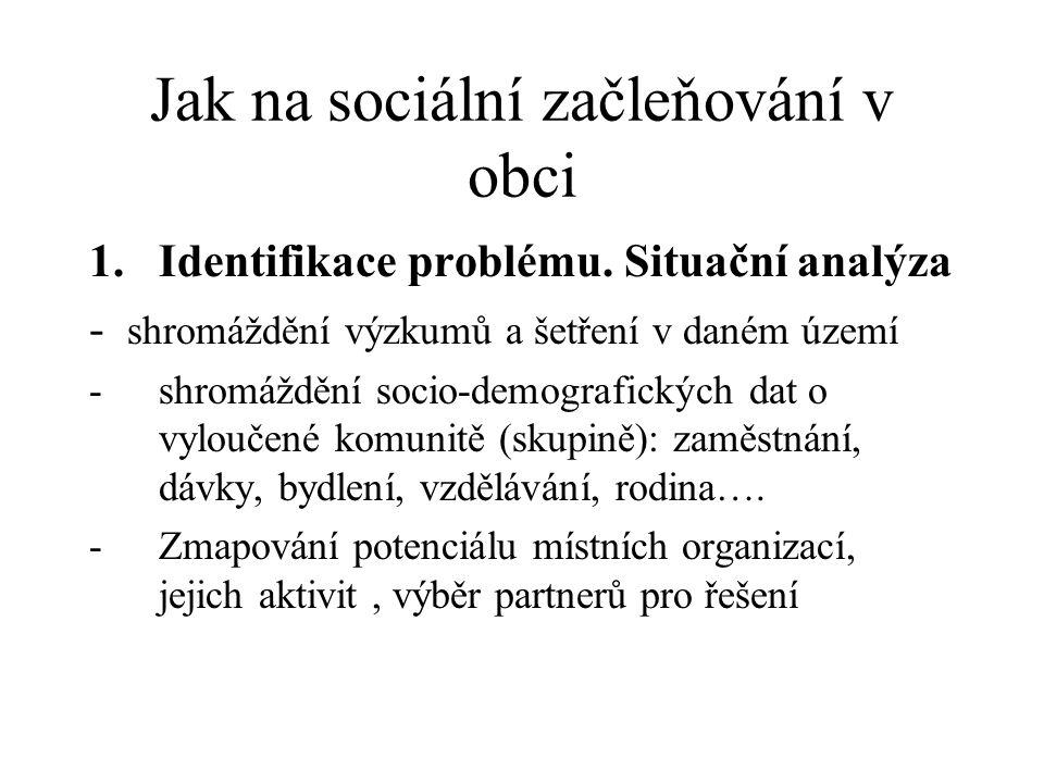 Jak na sociální začleňování v obci 1.Identifikace problému. Situační analýza - shromáždění výzkumů a šetření v daném území -shromáždění socio-demograf