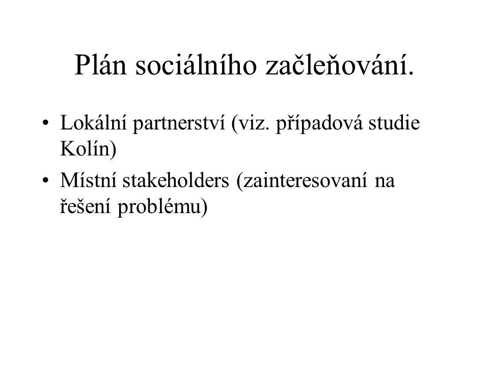 Plán sociálního začleňování. Lokální partnerství (viz. případová studie Kolín) Místní stakeholders (zainteresovaní na řešení problému)