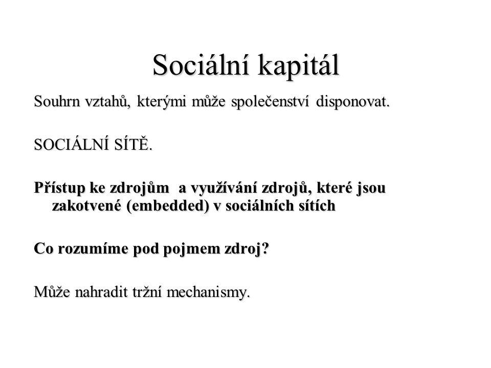 Sociální kapitál Souhrn vztahů, kterými může společenství disponovat. SOCIÁLNÍ SÍTĚ. Přístup ke zdrojům a využívání zdrojů, které jsou zakotvené (embe