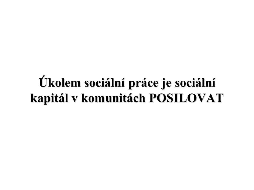 Úkolem sociální práce je sociální kapitál v komunitách POSILOVAT