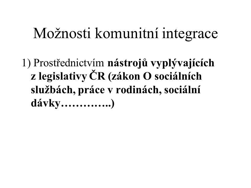 Možnosti komunitní integrace 1) Prostřednictvím nástrojů vyplývajících z legislativy ČR (zákon O sociálních službách, práce v rodinách, sociální dávky