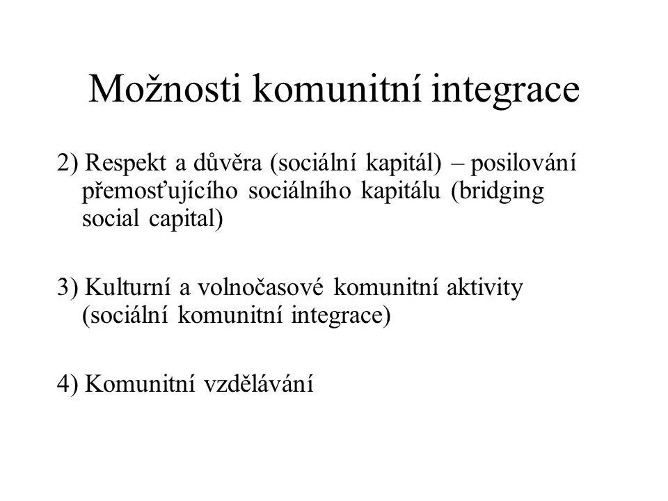 Možnosti komunitní integrace 2) Respekt a důvěra (sociální kapitál) – posilování přemosťujícího sociálního kapitálu (bridging social capital) 3) Kultu