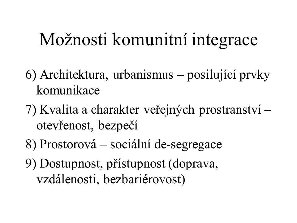 Možnosti komunitní integrace 6) Architektura, urbanismus – posilující prvky komunikace 7) Kvalita a charakter veřejných prostranství – otevřenost, bez