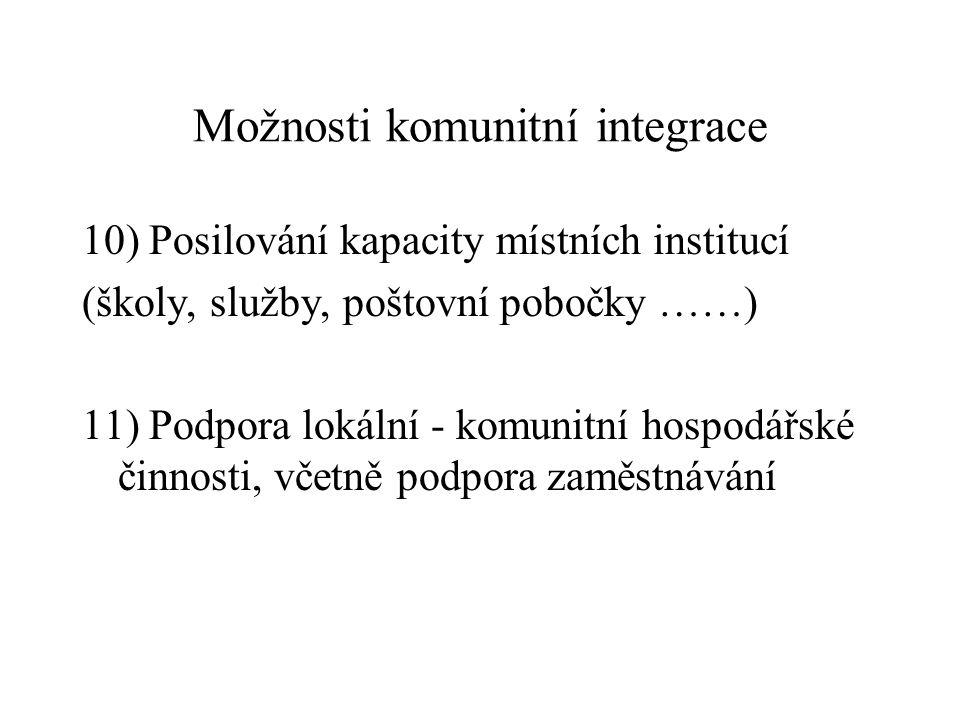 Možnosti komunitní integrace 10) Posilování kapacity místních institucí (školy, služby, poštovní pobočky ……) 11) Podpora lokální - komunitní hospodářs