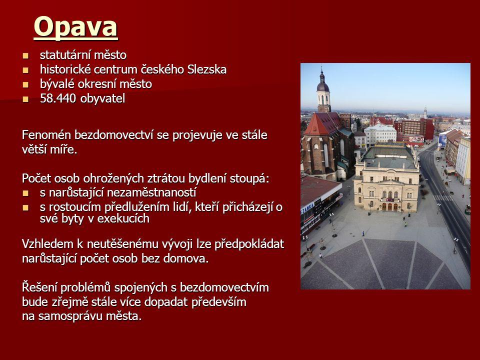 Opava statutární město statutární město historické centrum českého Slezska historické centrum českého Slezska bývalé okresní město bývalé okresní město 58.440 obyvatel 58.440 obyvatel Fenomén bezdomovectví se projevuje ve stále větší míře.
