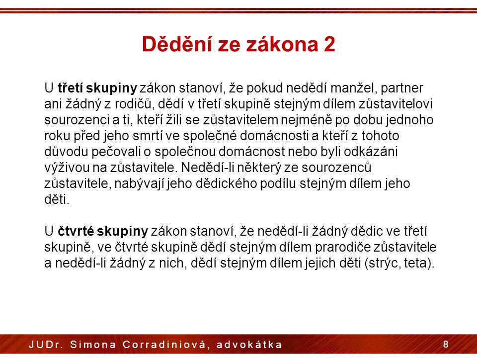 Dědění ze zákona 2 8 JUDr. Simona Corradiniová, advokátka U třetí skupiny zákon stanoví, že pokud nedědí manžel, partner ani žádný z rodičů, dědí v tř