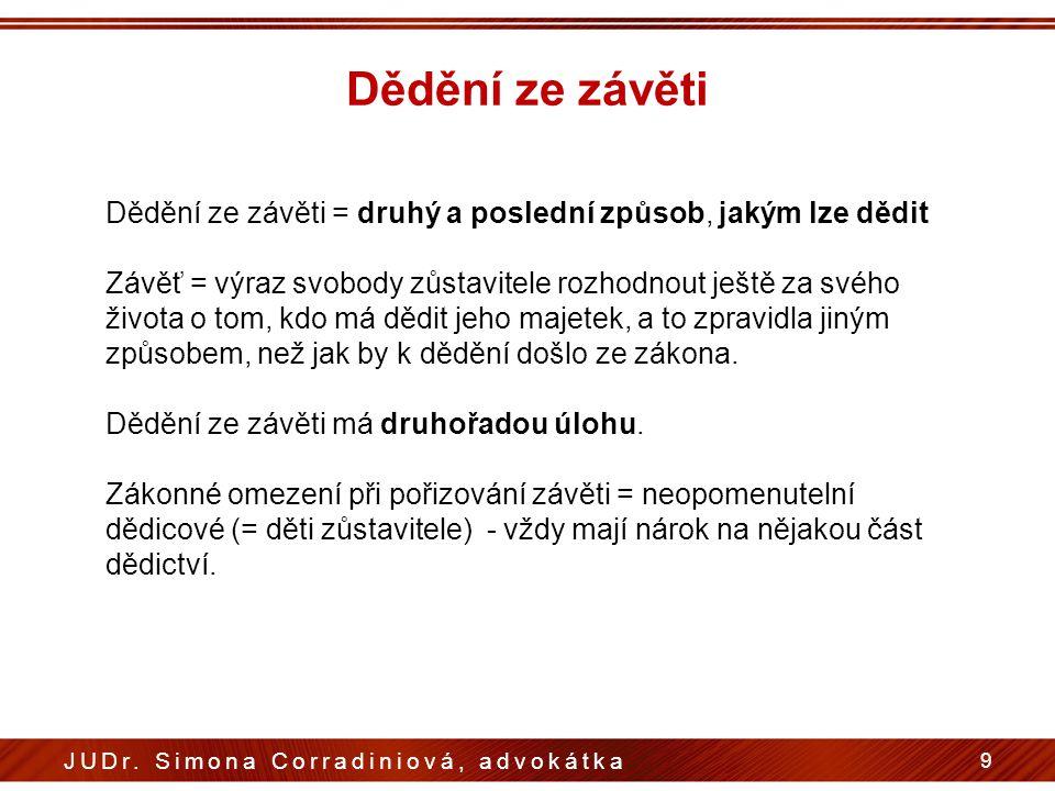 Dědění ze závěti 9 JUDr. Simona Corradiniová, advokátka Dědění ze závěti = druhý a poslední způsob, jakým lze dědit Závěť = výraz svobody zůstavitele
