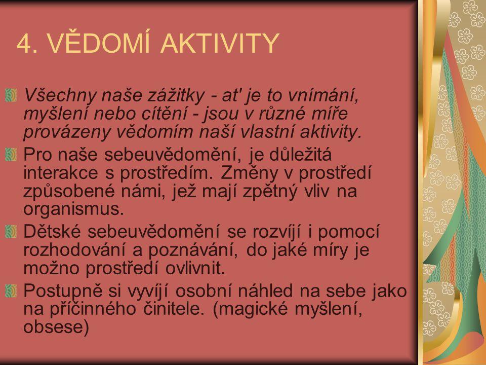 4. VĚDOMÍ AKTIVITY Všechny naše zážitky - at' je to vnímání, myšlení nebo cítění - jsou v různé míře provázeny vědomím naší vlastní aktivity. Pro naše