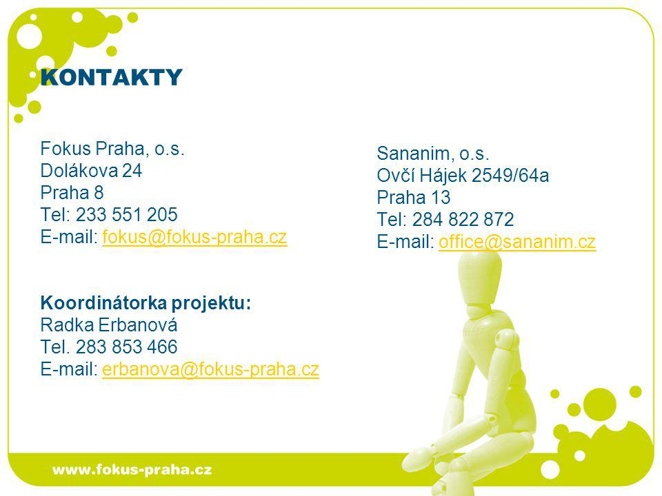 KONTAKTY Fokus Praha, o.s. Dolákova 24 Praha 8 Tel: 233 551 205 E-mail: fokus@fokus-praha.czfokus@fokus-praha.cz Koordinátorka projektu: Radka Erbanov