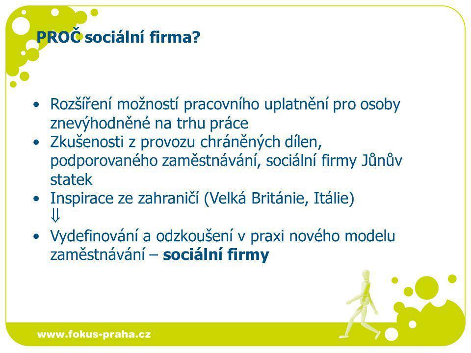 PROČ sociální firma.