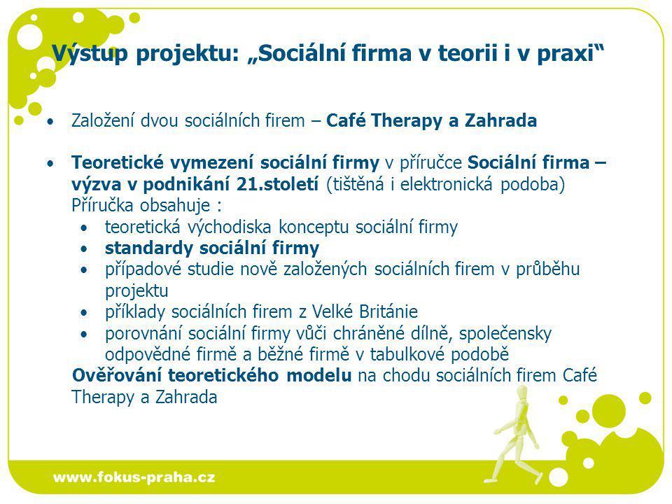 """Výstup projektu: """"Sociální firma v teorii i v praxi"""" Založení dvou sociálních firem – Café Therapy a Zahrada Teoretické vymezení sociální firmy v přír"""