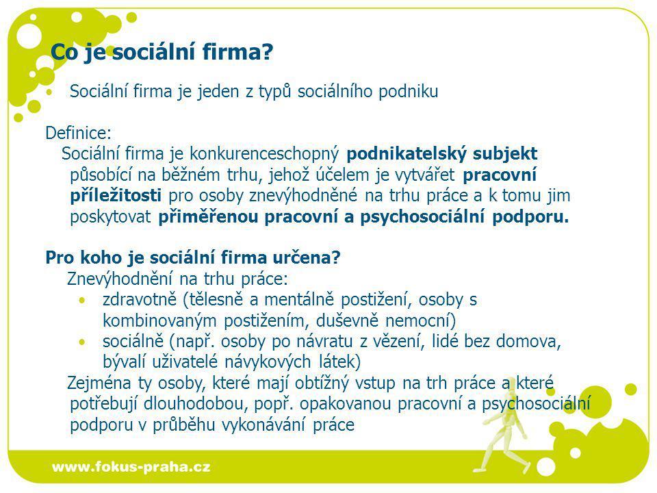 Co je sociální firma? Sociální firma je jeden z typů sociálního podniku Definice: Sociální firma je konkurenceschopný podnikatelský subjekt působící n