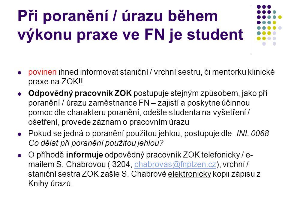 Při poranění / úrazu během výkonu praxe ve FN je student povinen ihned informovat staniční / vrchní sestru, či mentorku klinické praxe na ZOK!! Odpově