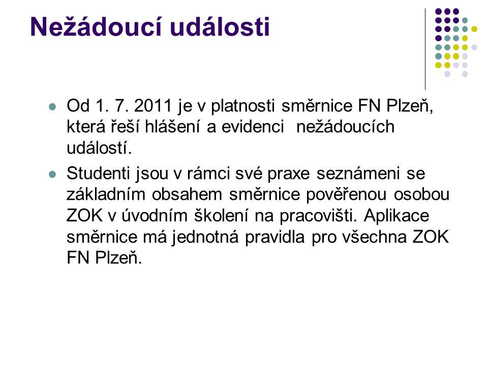 Nežádoucí události Od 1. 7. 2011 je v platnosti směrnice FN Plzeň, která řeší hlášení a evidenci nežádoucích událostí. Studenti jsou v rámci své praxe