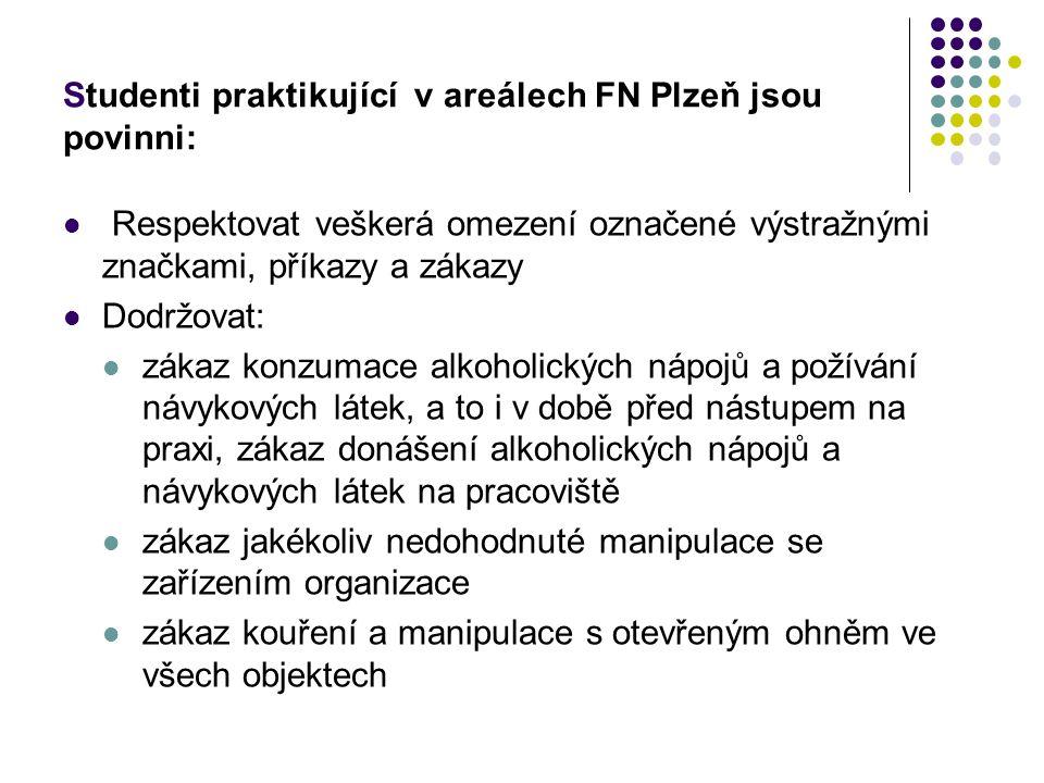 Studenti praktikující v areálech FN Plzeň jsou povinni: Respektovat veškerá omezení označené výstražnými značkami, příkazy a zákazy Dodržovat: zákaz k