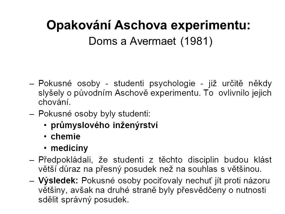 Opakování Aschova experimentu: Doms a Avermaet (1981) –Pokusné osoby - studenti psychologie - již určitě někdy slyšely o původním Aschově experimentu.