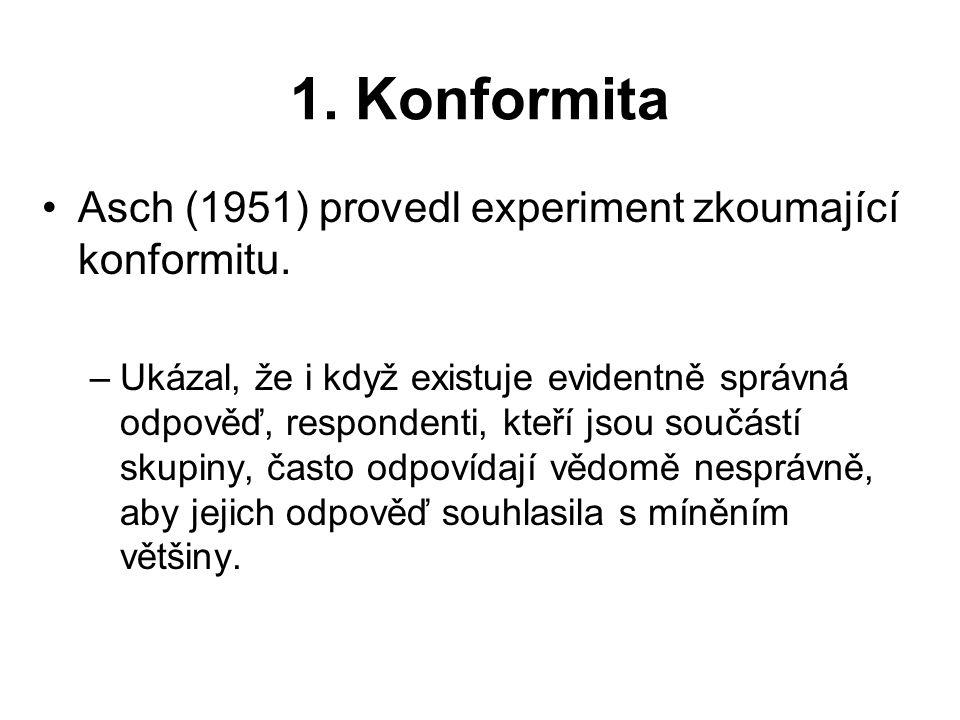 1. Konformita Asch (1951) provedl experiment zkoumající konformitu. –Ukázal, že i když existuje evidentně správná odpověď, respondenti, kteří jsou sou