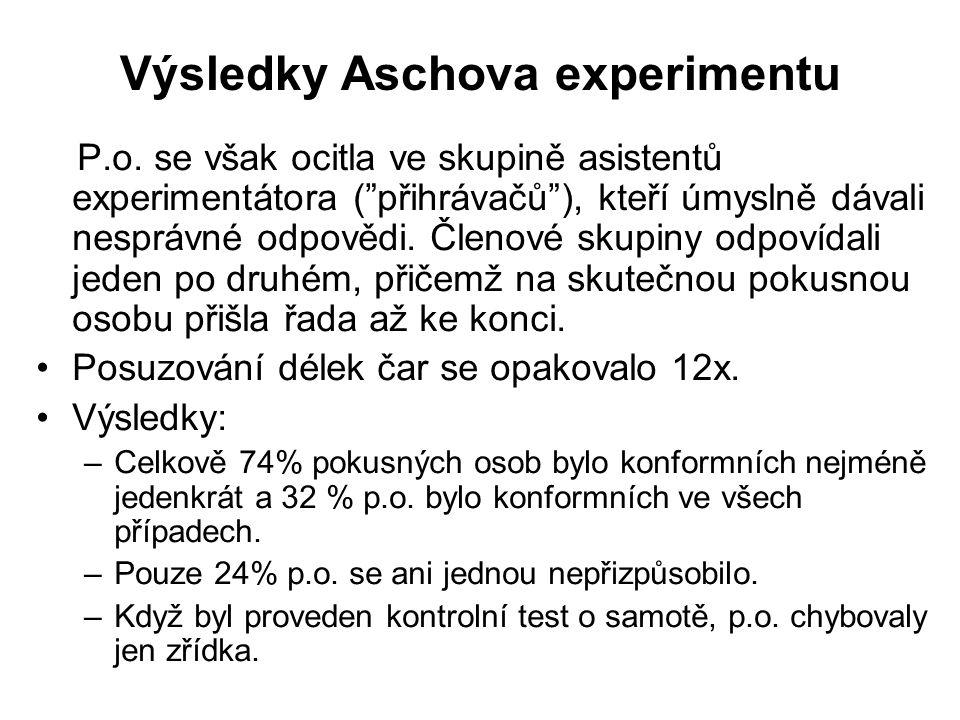"""Výsledky Aschova experimentu P.o. se však ocitla ve skupině asistentů experimentátora (""""přihrávačů""""), kteří úmyslně dávali nesprávné odpovědi. Členové"""