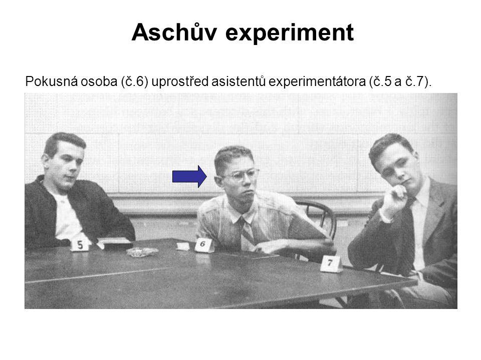 Pokusná osoba (č.6) uprostřed asistentů experimentátora (č.5 a č.7).