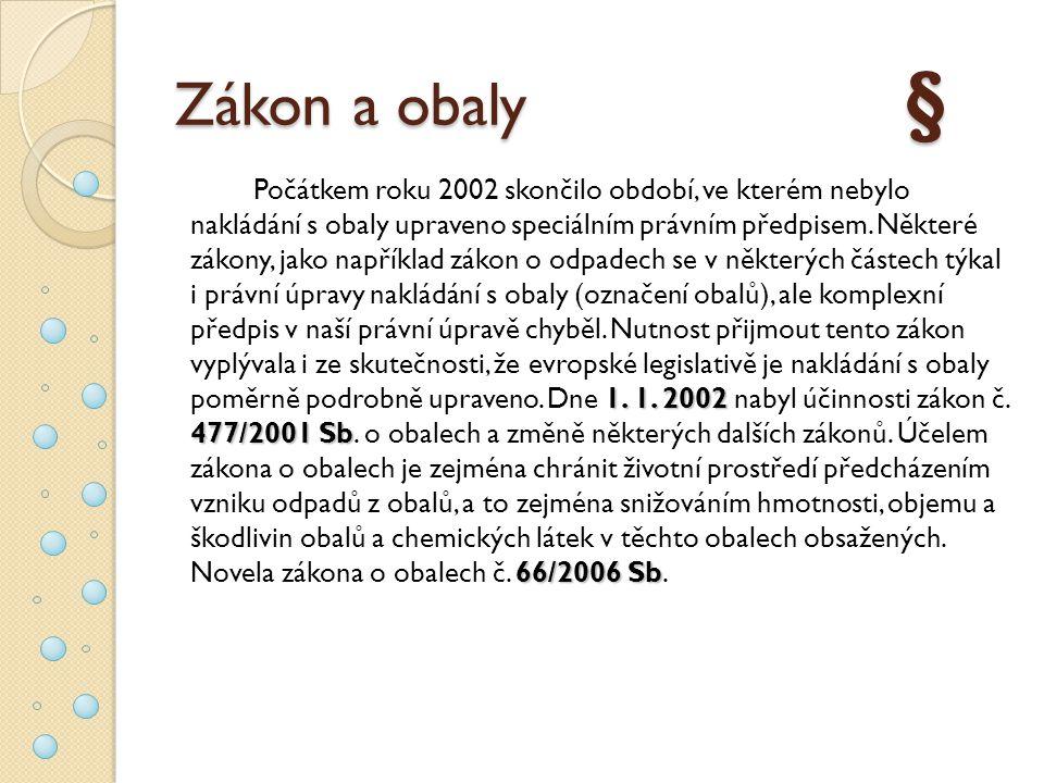 Zákon a obaly § 1. 1. 2002 477/2001 Sb 66/2006 Sb Počátkem roku 2002 skončilo období, ve kterém nebylo nakládání s obaly upraveno speciálním právním p