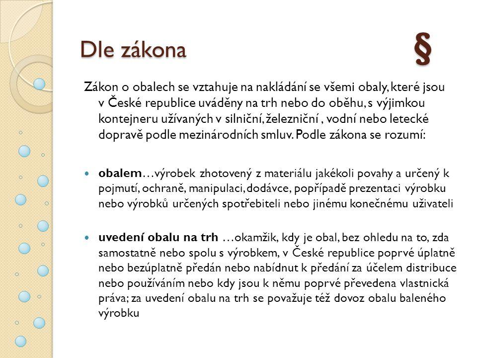 Dle zákona § Zákon o obalech se vztahuje na nakládání se všemi obaly, které jsou v České republice uváděny na trh nebo do oběhu, s výjimkou kontejneru užívaných v silniční, železniční, vodní nebo letecké dopravě podle mezinárodních smluv.