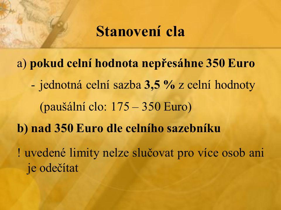 Stanovení cla a) pokud celní hodnota nepřesáhne 350 Euro -jednotná celní sazba 3,5 % z celní hodnoty (paušální clo: 175 – 350 Euro) b) nad 350 Euro dle celního sazebníku .