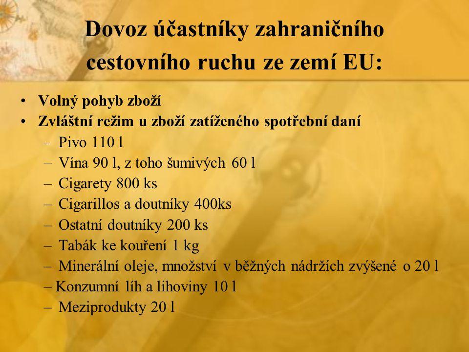 Dovoz účastníky zahraničního cestovního ruchu ze zemí EU: Volný pohyb zboží Zvláštní režim u zboží zatíženého spotřební daní – Pivo 110 l –Vína 90 l, z toho šumivých 60 l –Cigarety 800 ks –Cigarillos a doutníky 400ks –Ostatní doutníky 200 ks –Tabák ke kouření 1 kg –Minerální oleje, množství v běžných nádržích zvýšené o 20 l – Konzumní líh a lihoviny 10 l –Meziprodukty 20 l