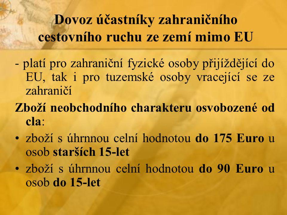 Dovoz účastníky zahraničního cestovního ruchu ze zemí mimo EU - platí pro zahraniční fyzické osoby přijíždějící do EU, tak i pro tuzemské osoby vracející se ze zahraničí Zboží neobchodního charakteru osvobozené od cla: zboží s úhrnnou celní hodnotou do 175 Euro u osob starších 15-let zboží s úhrnnou celní hodnotou do 90 Euro u osob do 15-let