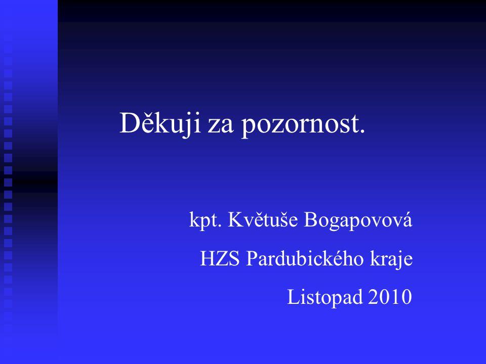 Děkuji za pozornost. kpt. Květuše Bogapovová HZS Pardubického kraje Listopad 2010