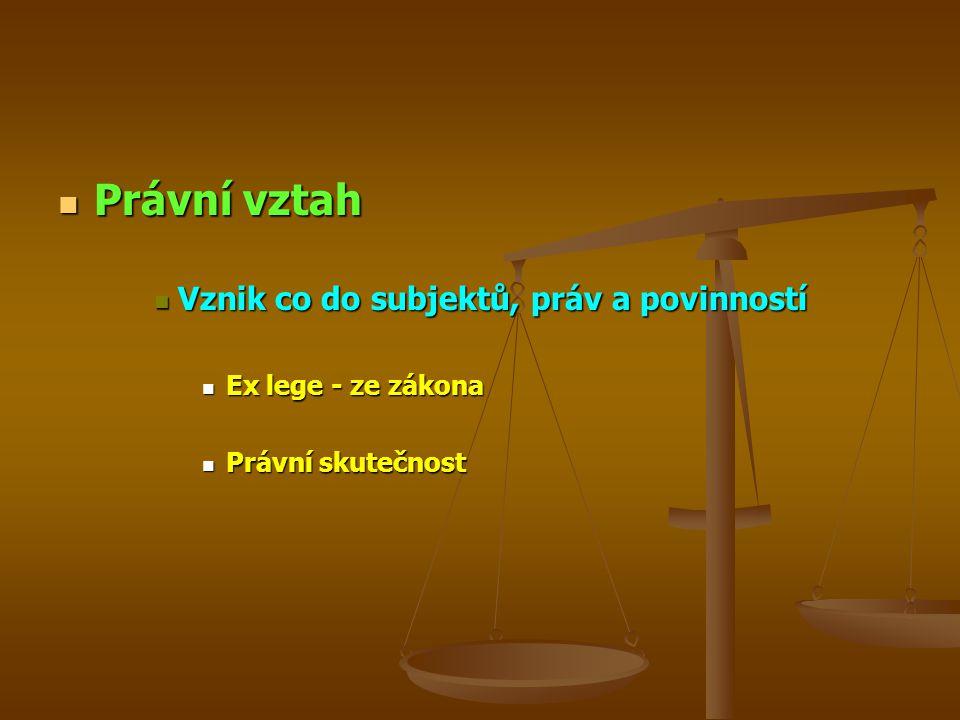 Právní vztah Právní vztah Vznik co do subjektů, práv a povinností Vznik co do subjektů, práv a povinností Ex lege - ze zákona Ex lege - ze zákona Právní skutečnost Právní skutečnost