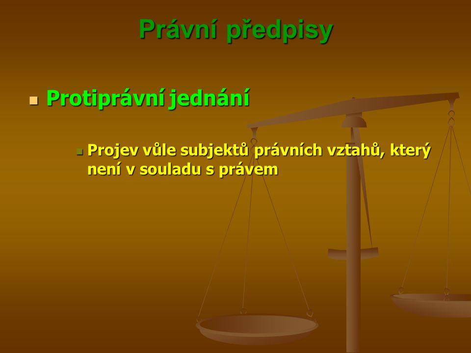 Právní předpisy Protiprávní jednání Protiprávní jednání Projev vůle subjektů právních vztahů, který není v souladu s právem Projev vůle subjektů právních vztahů, který není v souladu s právem