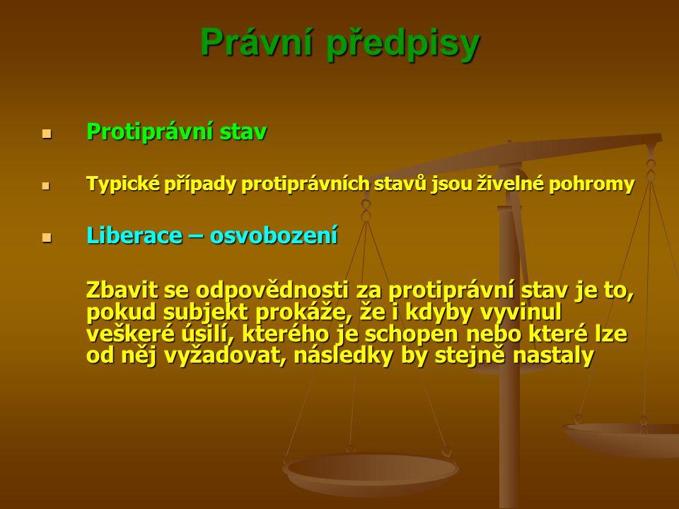 Právní předpisy Protiprávní stav Protiprávní stav Typické případy protiprávních stavů jsou živelné pohromy Typické případy protiprávních stavů jsou živelné pohromy Liberace – osvobození Liberace – osvobození Zbavit se odpovědnosti za protiprávní stav je to, pokud subjekt prokáže, že i kdyby vyvinul veškeré úsilí, kterého je schopen nebo které lze od něj vyžadovat, následky by stejně nastaly