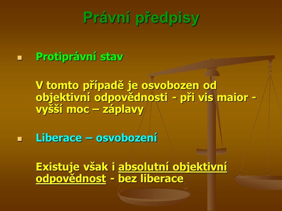 Právní předpisy Protiprávní stav Protiprávní stav V tomto případě je osvobozen od objektivní odpovědnosti - při vis maior - vyšší moc – záplavy Libera