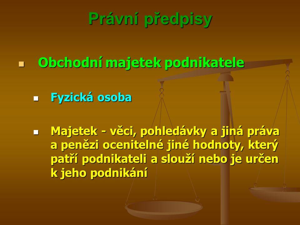 Právní předpisy Obchodní majetek podnikatele Obchodní majetek podnikatele Fyzická osoba Fyzická osoba Majetek - věci, pohledávky a jiná práva a penězi