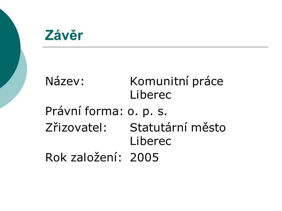 Závěr Název: Komunitní práce Liberec Právní forma: o.