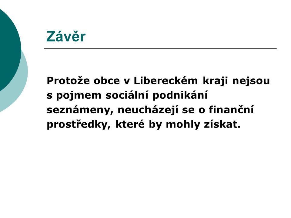 Závěr Protože obce v Libereckém kraji nejsou s pojmem sociální podnikání seznámeny, neucházejí se o finanční prostředky, které by mohly získat.