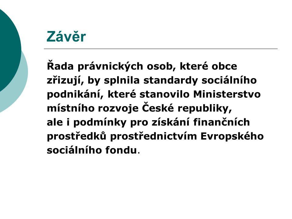 Závěr Řada právnických osob, které obce zřizují, by splnila standardy sociálního podnikání, které stanovilo Ministerstvo místního rozvoje České republiky, ale i podmínky pro získání finančních prostředků prostřednictvím Evropského sociálního fondu.
