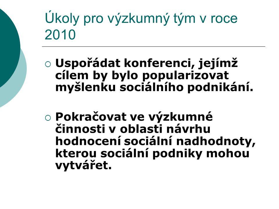 Úkoly pro výzkumný tým v roce 2010  Uspořádat konferenci, jejímž cílem by bylo popularizovat myšlenku sociálního podnikání.