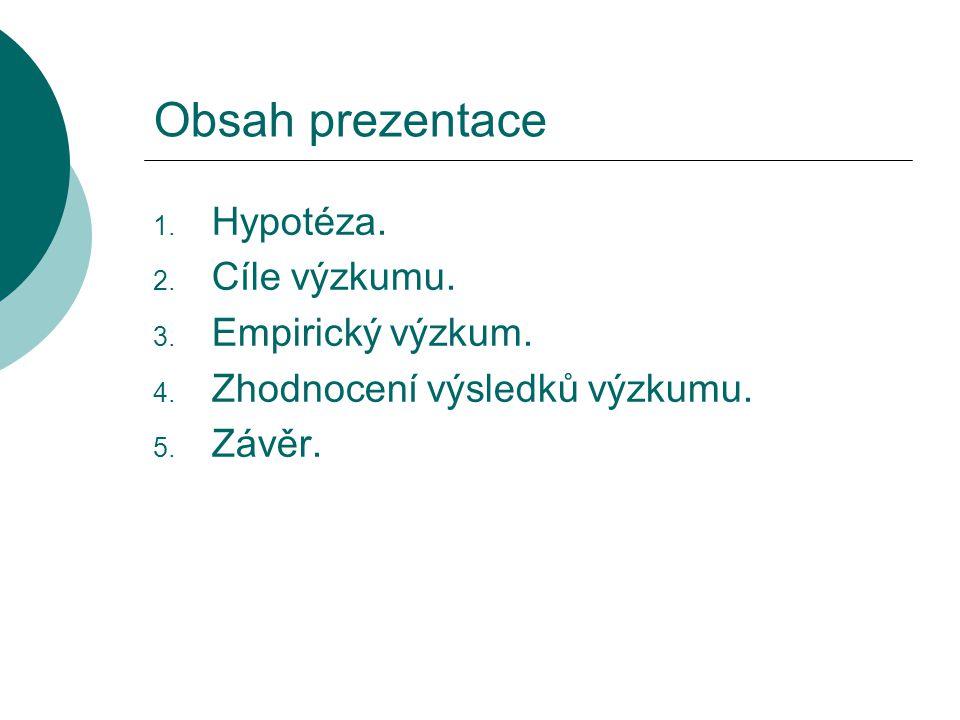 Obsah prezentace 1. Hypotéza. 2. Cíle výzkumu. 3.
