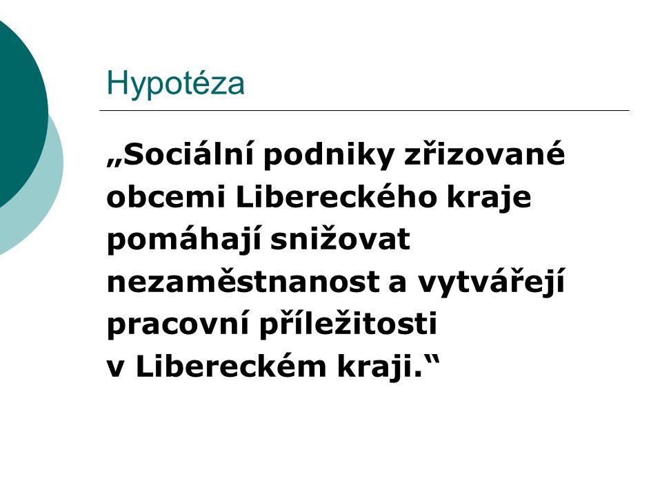 """Hypotéza """"Sociální podniky zřizované obcemi Libereckého kraje pomáhají snižovat nezaměstnanost a vytvářejí pracovní příležitosti v Libereckém kraji."""