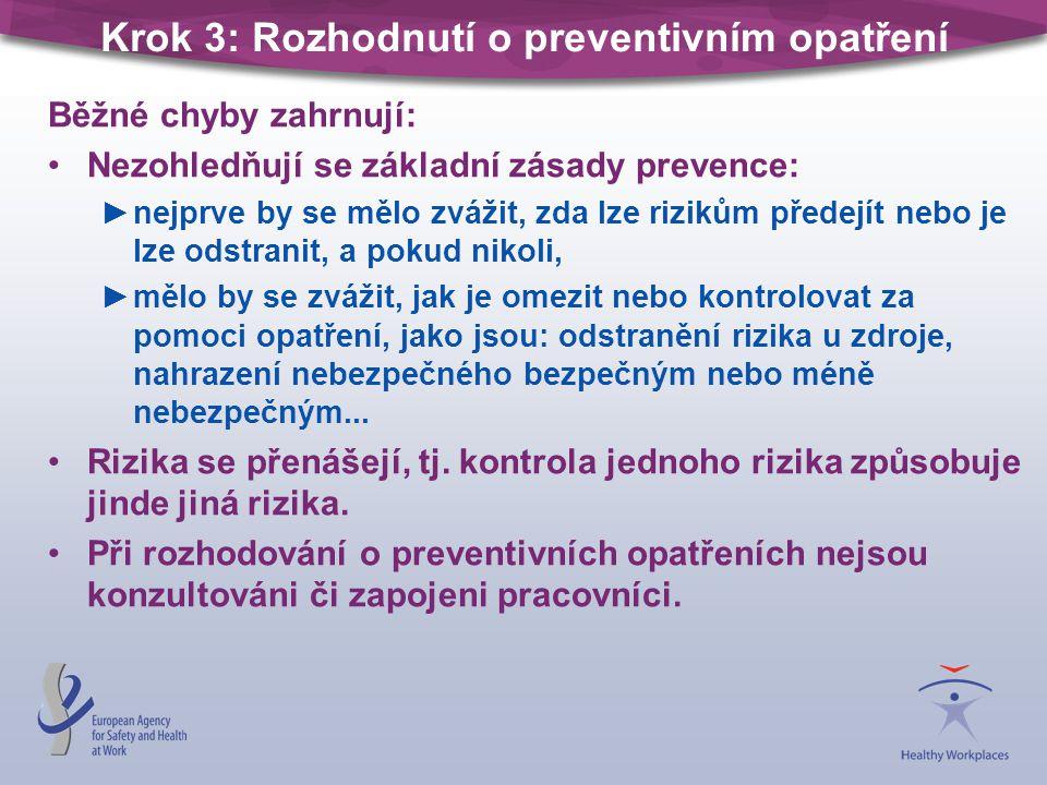 Krok 3: Rozhodnutí o preventivním opatření Běžné chyby zahrnují: Nezohledňují se základní zásady prevence: ►nejprve by se mělo zvážit, zda lze rizikům