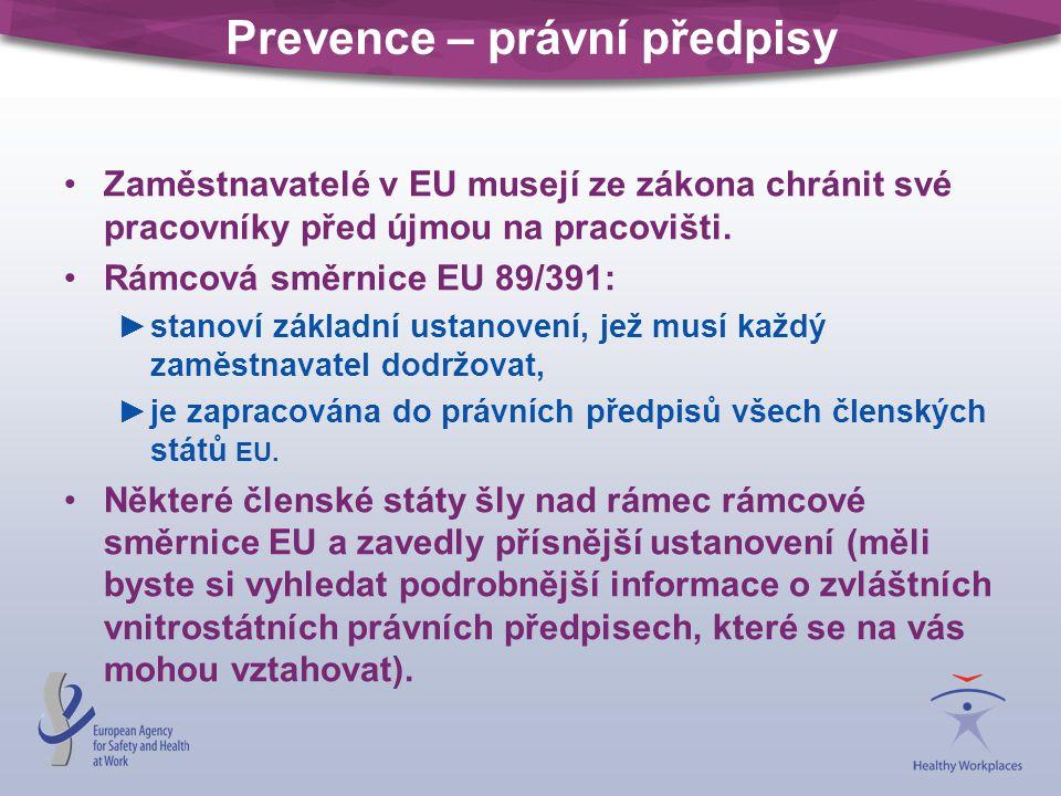 Prevence – právní předpisy Zaměstnavatelé v EU musejí ze zákona chránit své pracovníky před újmou na pracovišti. Rámcová směrnice EU 89/391: ►stanoví