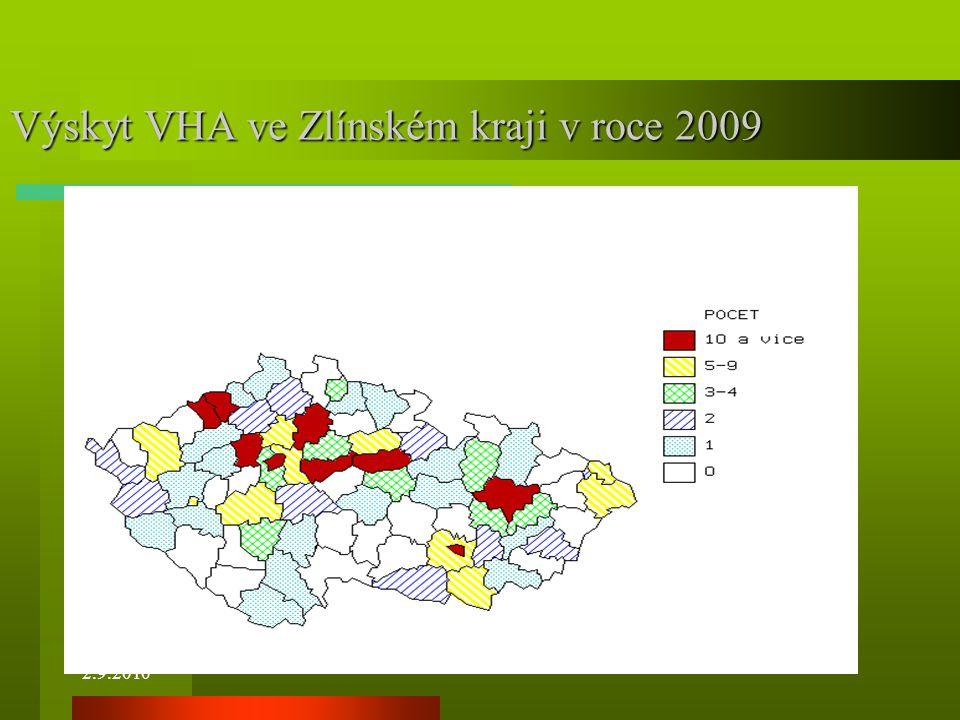 Výskyt VHA ve Zlínském kraji v roce 2009