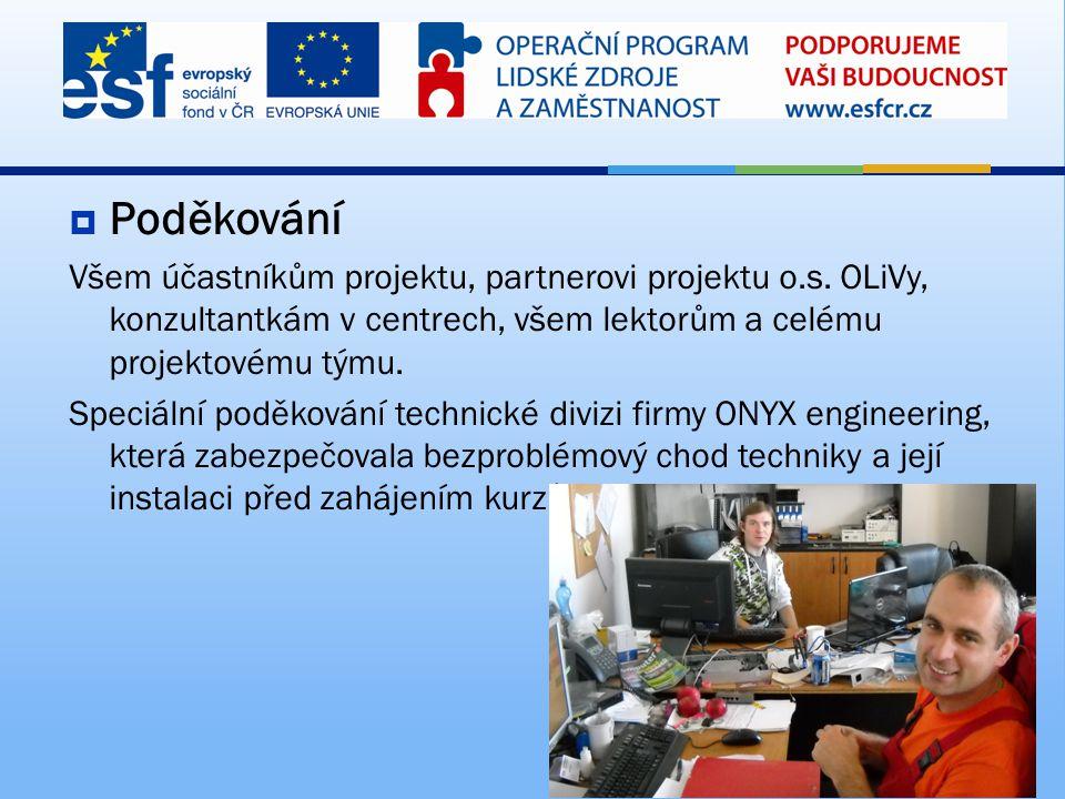  Poděkování Všem účastníkům projektu, partnerovi projektu o.s. OLiVy, konzultantkám v centrech, všem lektorům a celému projektovému týmu. Speciální p
