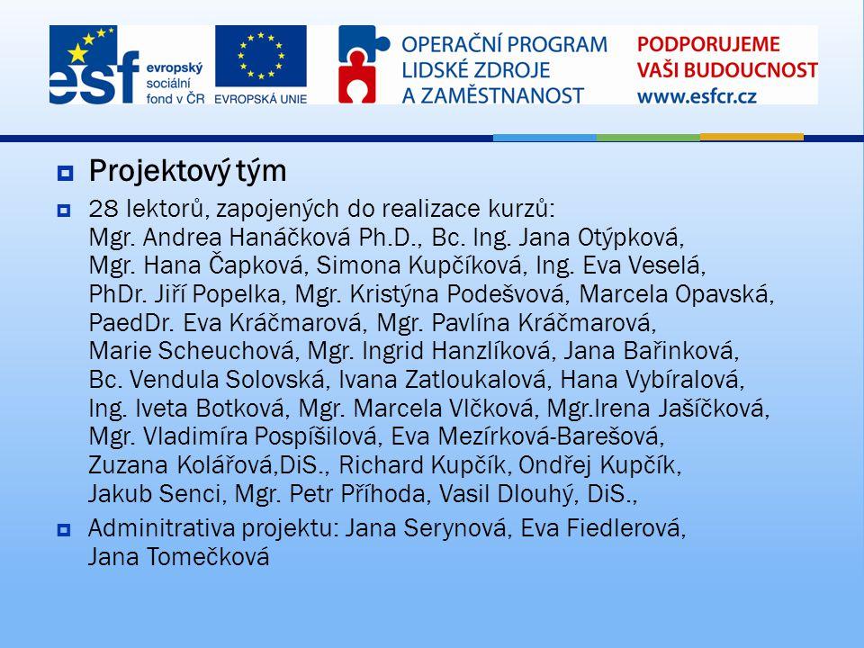  Projektový tým  28 lektorů, zapojených do realizace kurzů: Mgr. Andrea Hanáčková Ph.D., Bc. Ing. Jana Otýpková, Mgr. Hana Čapková, Simona Kupčíková