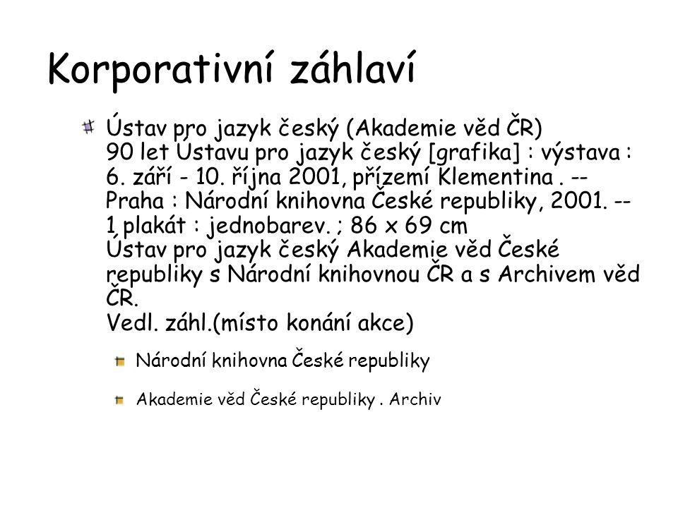 Korporativní záhlaví Ústav pro jazyk český (Akademie věd ČR) 90 let Ústavu pro jazyk český [grafika] : výstava : 6.