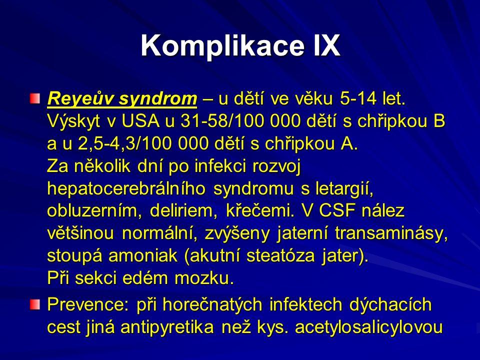 Komplikace IX Reyeův syndrom – u dětí ve věku 5-14 let. Výskyt v USA u 31-58/100 000 dětí s chřipkou B a u 2,5-4,3/100 000 dětí s chřipkou A. Za někol